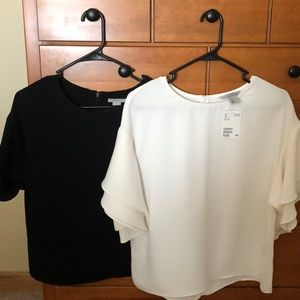 H and m polyester blouse size 4 black and cream